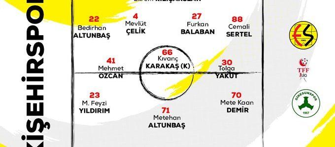 Eskişehirspor'un Giresunspor 11'i