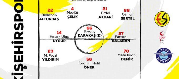 Eskişehirspor Adana Demirspor 11'leri